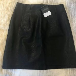 Topshop Black Faux Leather Skirt w/ Zip US6, UK10